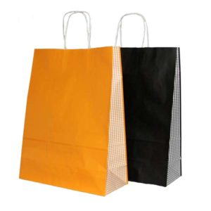 Bolsa de papel asa rizada CUADROS