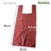 Bolsa de plástico con asas burdeos 35x50