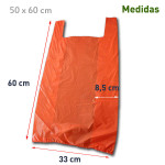 Bolsa de plástico con asas naranja con medidas