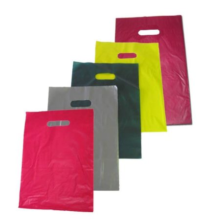 Bolsa de plástico asa troquelada varios colores