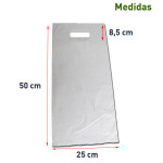 Bolsa de plástico asa troquelada blanca 25x50