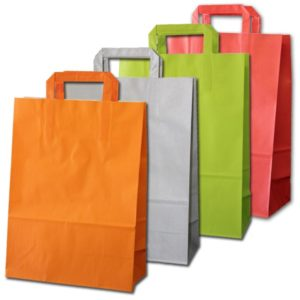 Bolsa de papel asa plana colores LUX