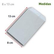 Sobre de papel kraft plata con medidas