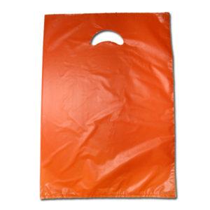 Bolsa de plástico asa troquel 25 x 35 cm NARANJA