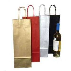 Bolsas de papel asa rizada para botellas