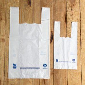 Bolsas camiseta blancas de plástico reciclado
